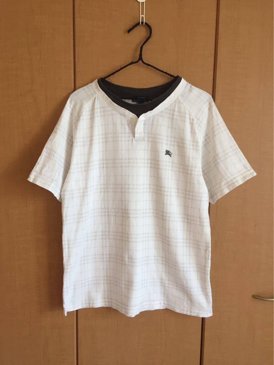 ★バーバリーブラックレーベル★半袖TシャツL★白チェック★三陽商会★日本製★重ね着風★_画像2
