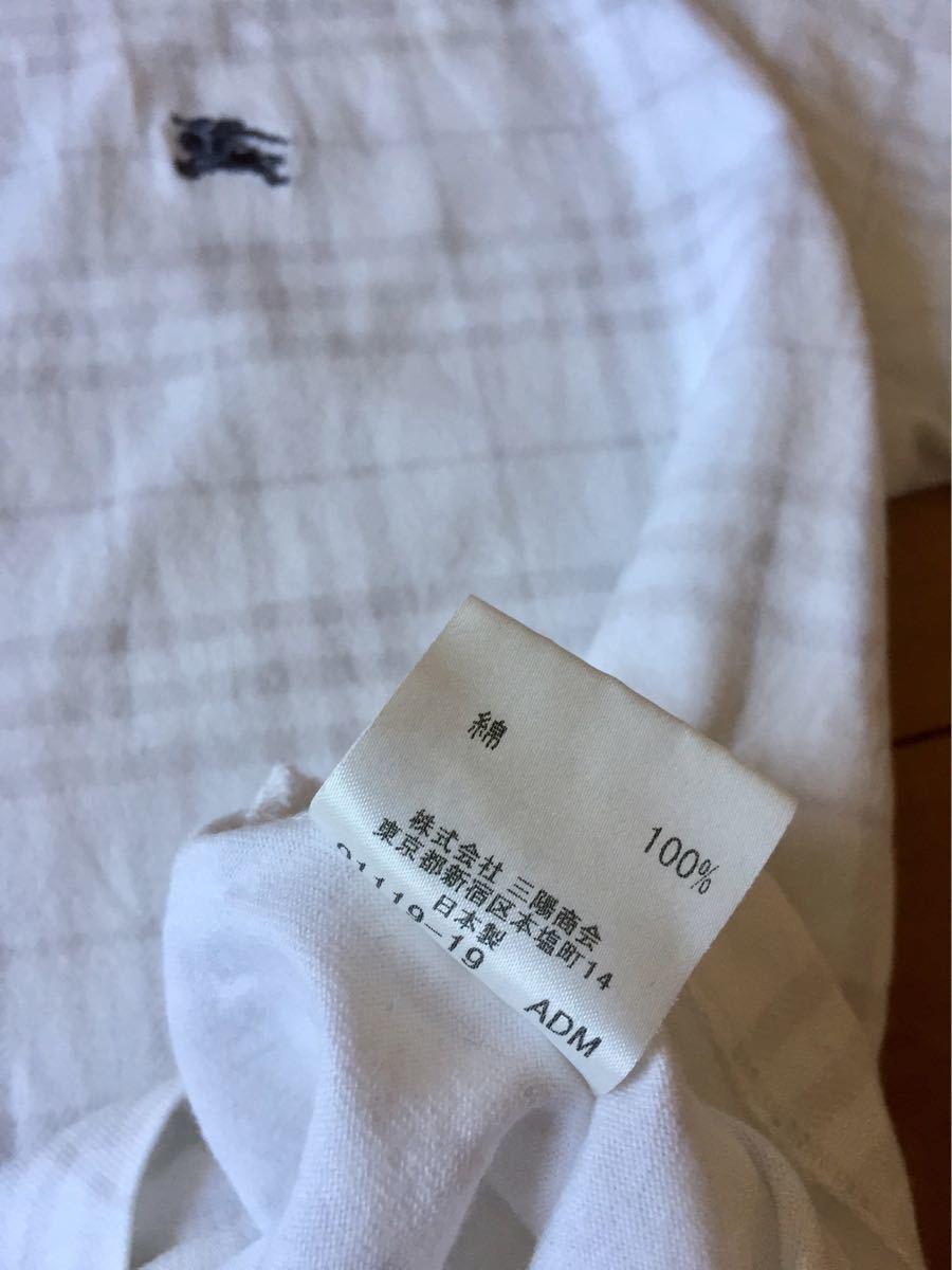 ★バーバリーブラックレーベル★半袖TシャツL★白チェック★三陽商会★日本製★重ね着風★_画像6