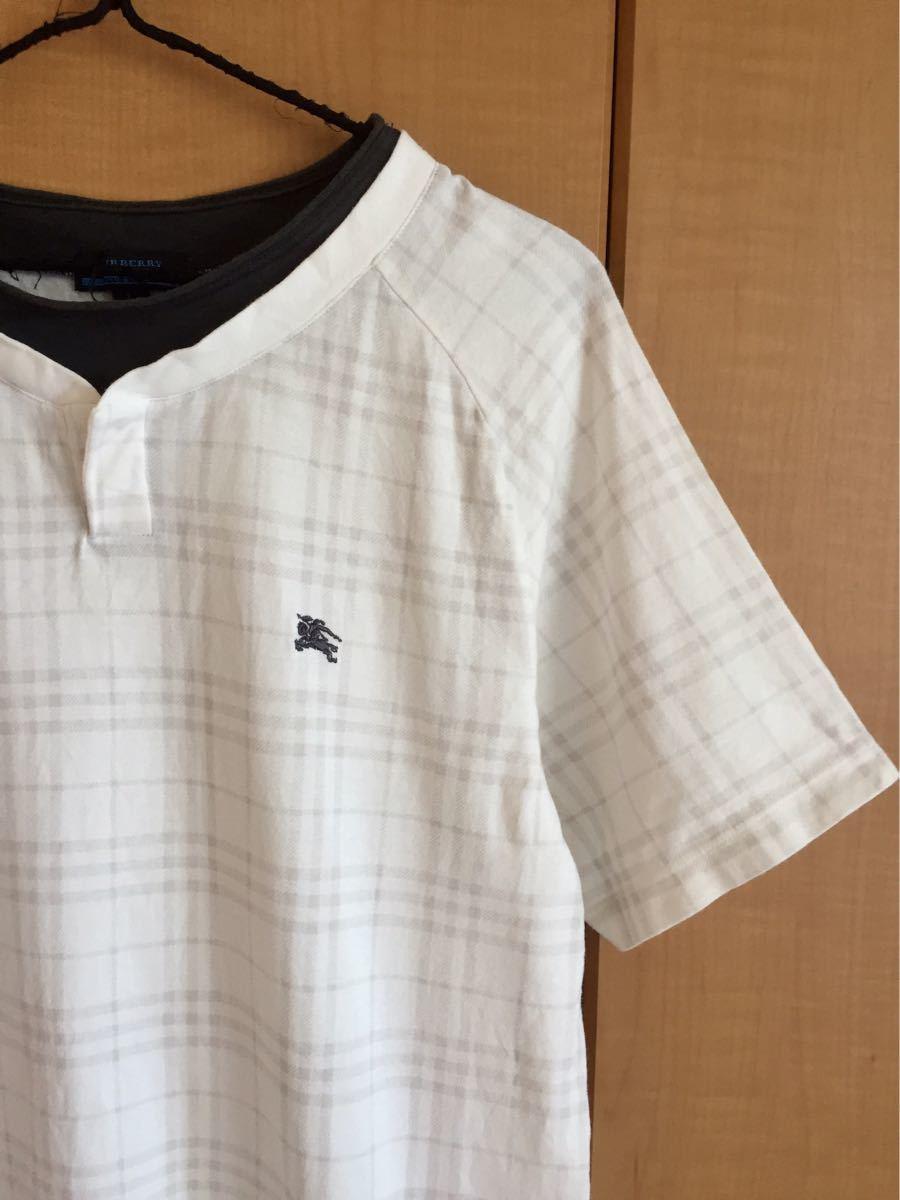 ★バーバリーブラックレーベル★半袖TシャツL★白チェック★三陽商会★日本製★重ね着風★