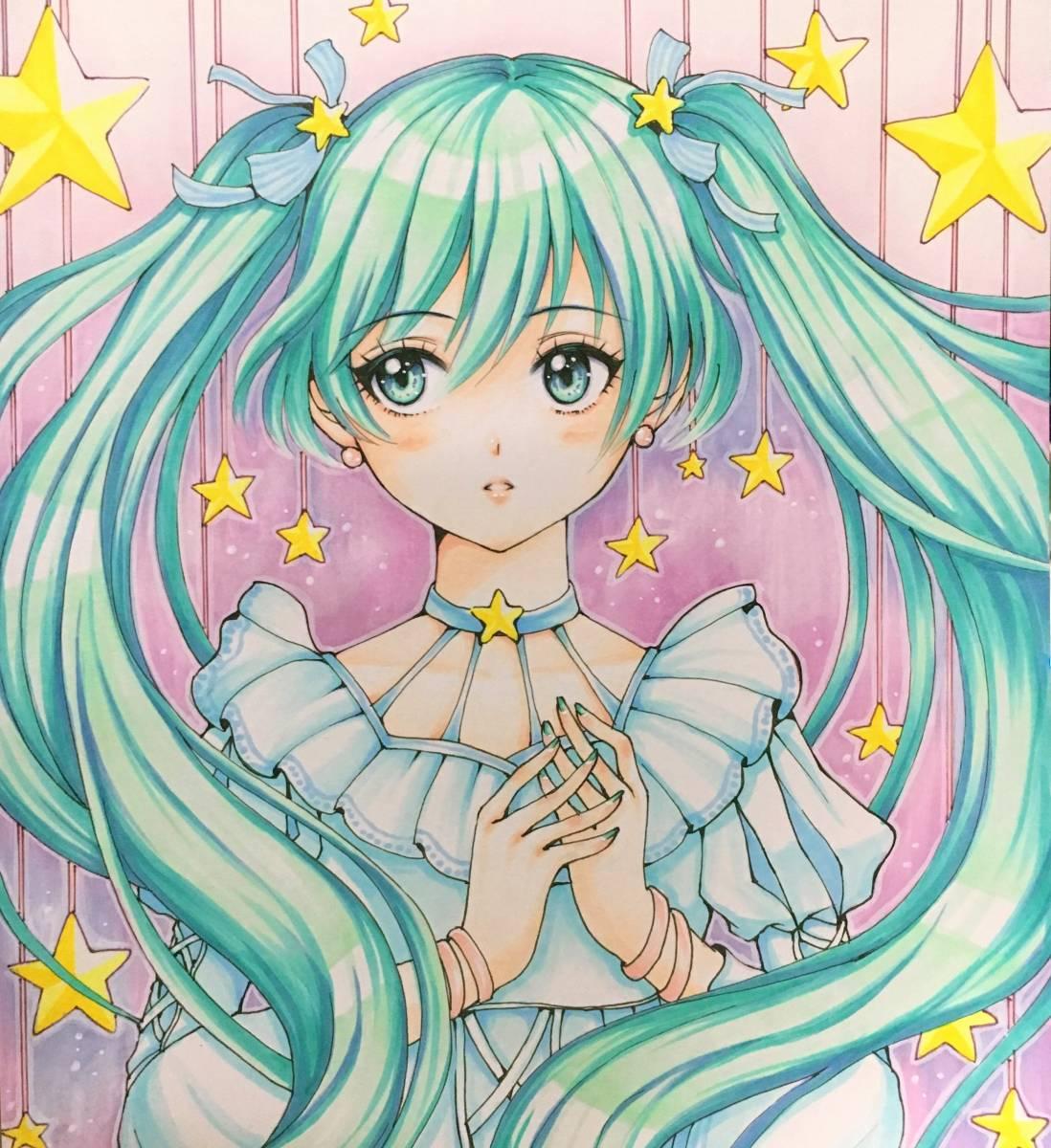 A4【初音ミク】Hatsune Miku ★同人手描きイラスト★星_画像3