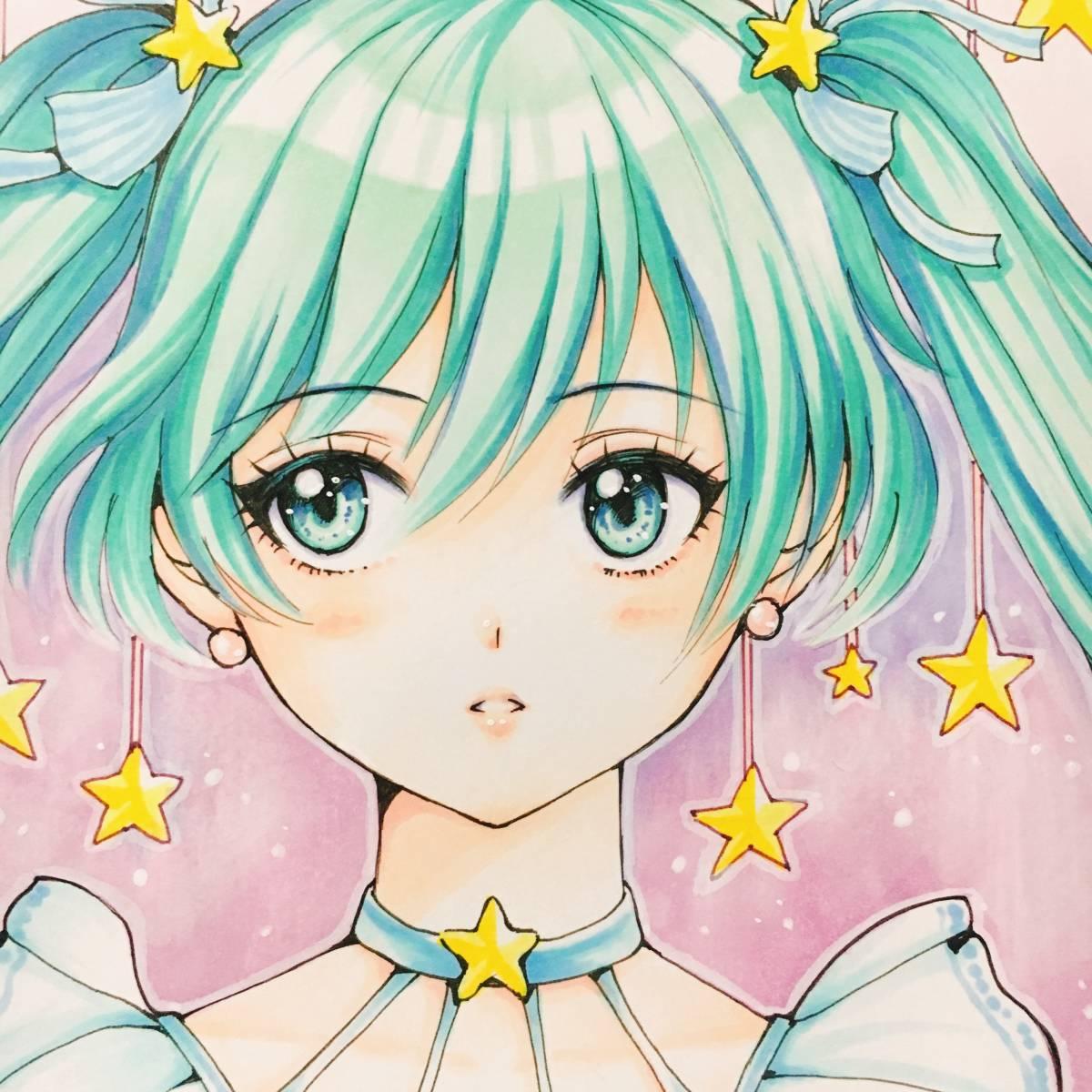 A4【初音ミク】Hatsune Miku ★同人手描きイラスト★星_画像1