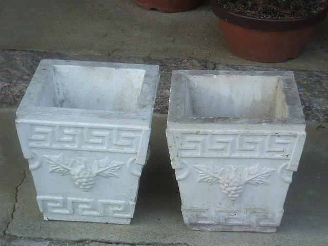 石膏 ガーデニング プランター × 2点 西洋鉢 鉢カバー アンティーク
