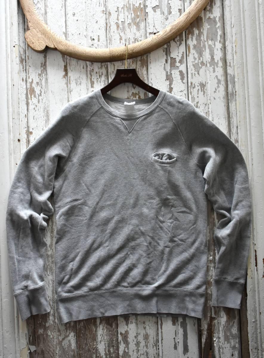 希少 良品 ループウィラー LOOPWHEELER Vガゼット 霜降りグレー スウェット プルオーバー L 無地 胸ポケット コットン 日本製