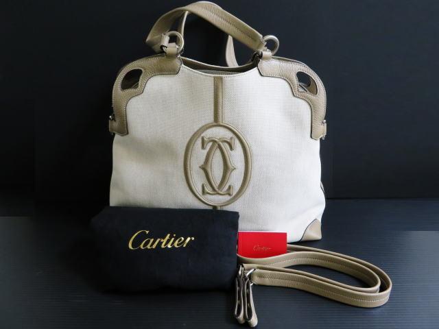 カルティエ  Cartier  ハンドバッグ  ショルダーバッグ  レザー キャンバス  2WAY