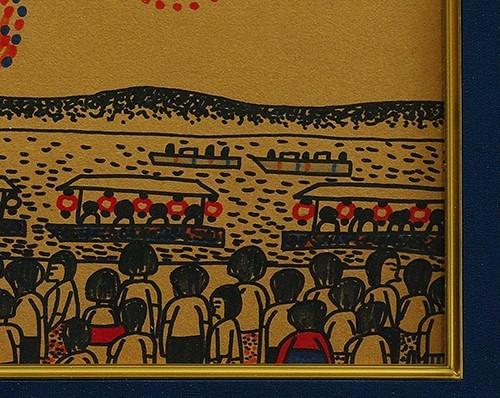 ◆山下清◆花火◆肉筆◆ペン画◆裸の大将記念館シール◆画面サイン印譜◆色紙◆額装有り◆返品対象外_画像6