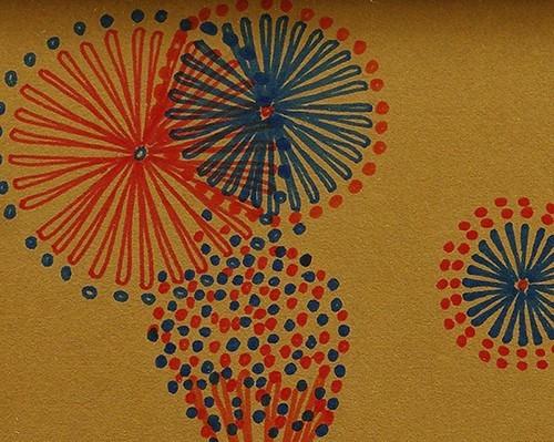 ◆山下清◆花火◆肉筆◆ペン画◆裸の大将記念館シール◆画面サイン印譜◆色紙◆額装有り◆返品対象外_画像3