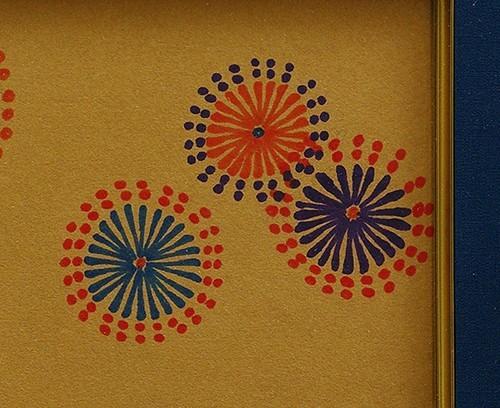 ◆山下清◆花火◆肉筆◆ペン画◆裸の大将記念館シール◆画面サイン印譜◆色紙◆額装有り◆返品対象外_画像4