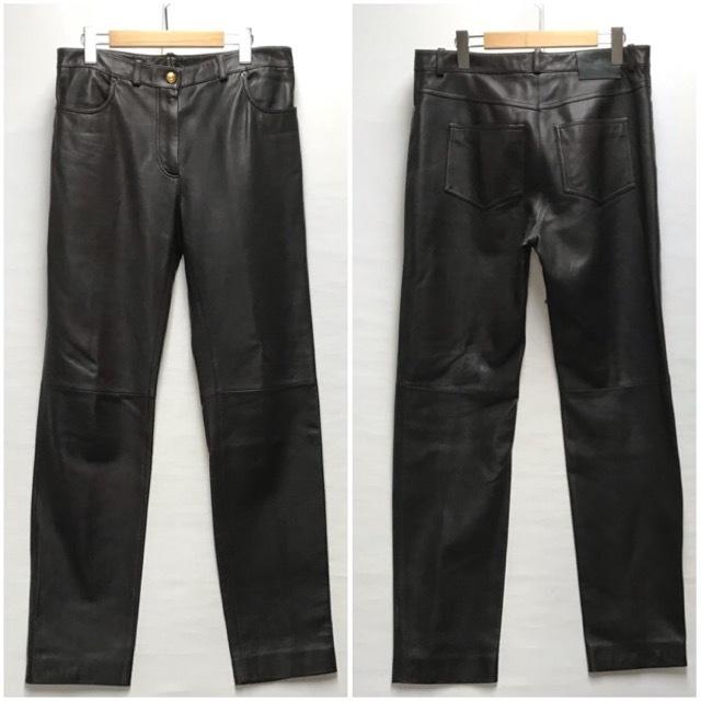 LOEWE/ロエベレザーパンツ/leather Pants/メンズ/オム/ブラウン/茶色/ラムレザー/本革/44/スペイン製/4993