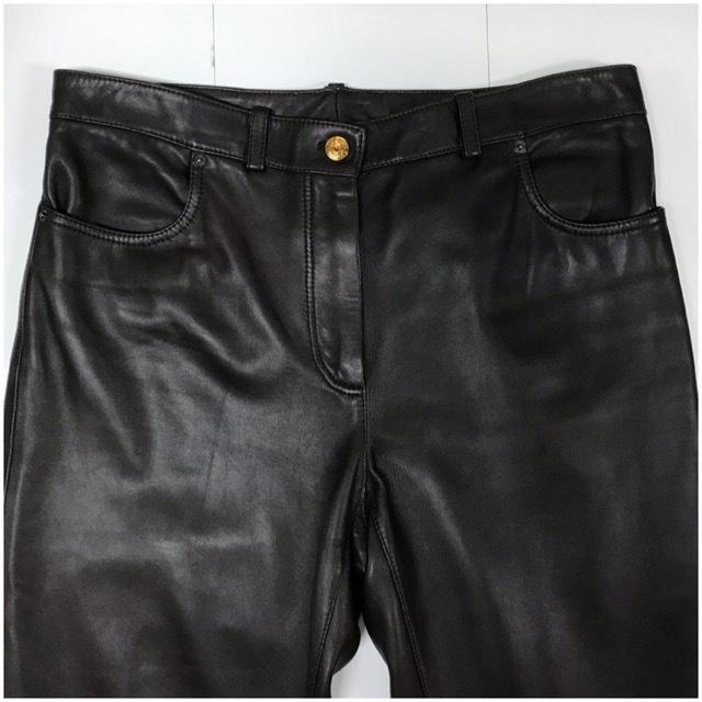 LOEWE/ロエベレザーパンツ/leather Pants/メンズ/オム/ブラウン/茶色/ラムレザー/本革/44/スペイン製/4993_画像2