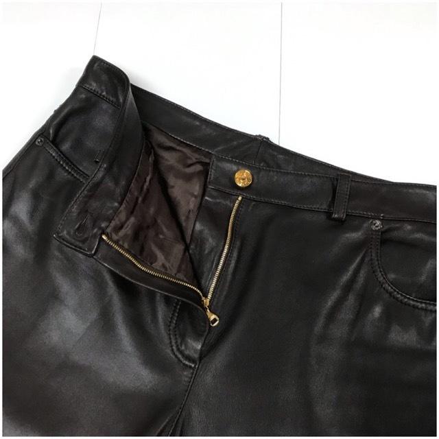 LOEWE/ロエベレザーパンツ/leather Pants/メンズ/オム/ブラウン/茶色/ラムレザー/本革/44/スペイン製/4993_画像3