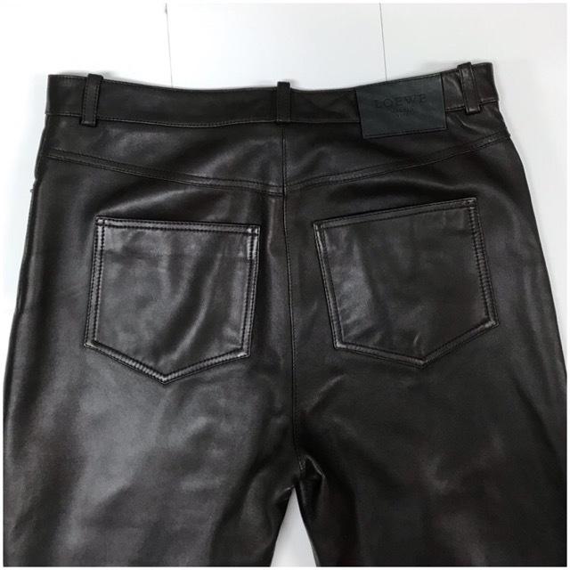 LOEWE/ロエベレザーパンツ/leather Pants/メンズ/オム/ブラウン/茶色/ラムレザー/本革/44/スペイン製/4993_画像4