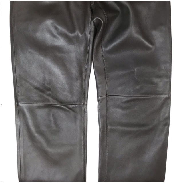 LOEWE/ロエベレザーパンツ/leather Pants/メンズ/オム/ブラウン/茶色/ラムレザー/本革/44/スペイン製/4993_画像5