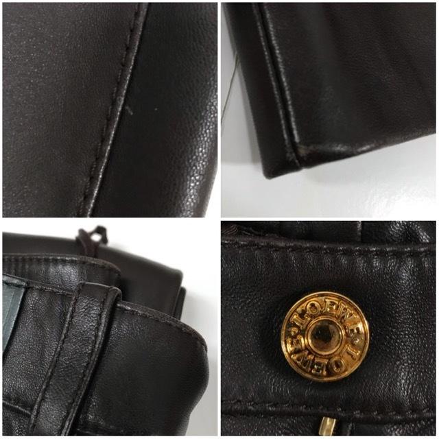 LOEWE/ロエベレザーパンツ/leather Pants/メンズ/オム/ブラウン/茶色/ラムレザー/本革/44/スペイン製/4993_画像8