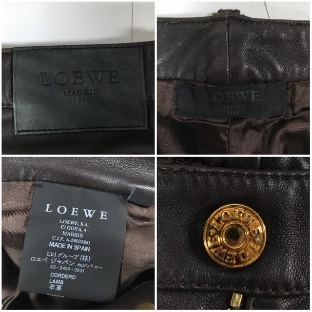 LOEWE/ロエベレザーパンツ/leather Pants/メンズ/オム/ブラウン/茶色/ラムレザー/本革/44/スペイン製/4993_画像10