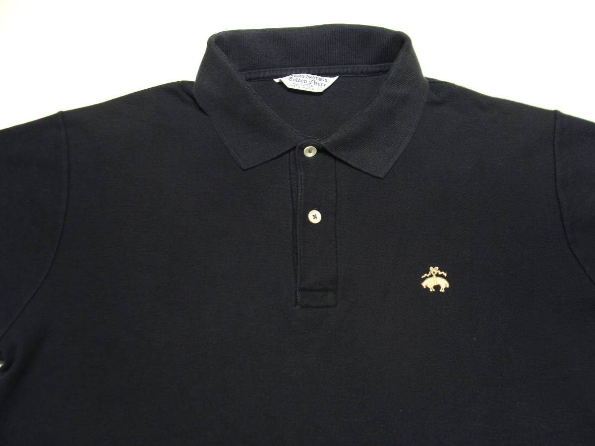 USA製 BROOKS BROTHERS ブルックスブラザーズ ゴールデンフリース 半袖 ポロシャツ サイズL 黒 ブラック 国内正規品_画像1