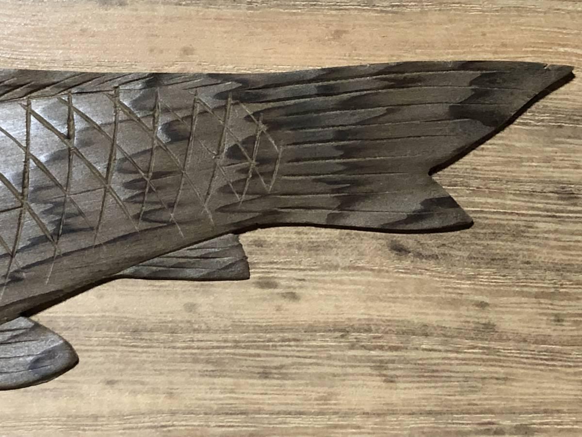 木彫額 蔵前木彫師三代松本重明 作 双魚 昭和44年 極美品  J0605F_画像6
