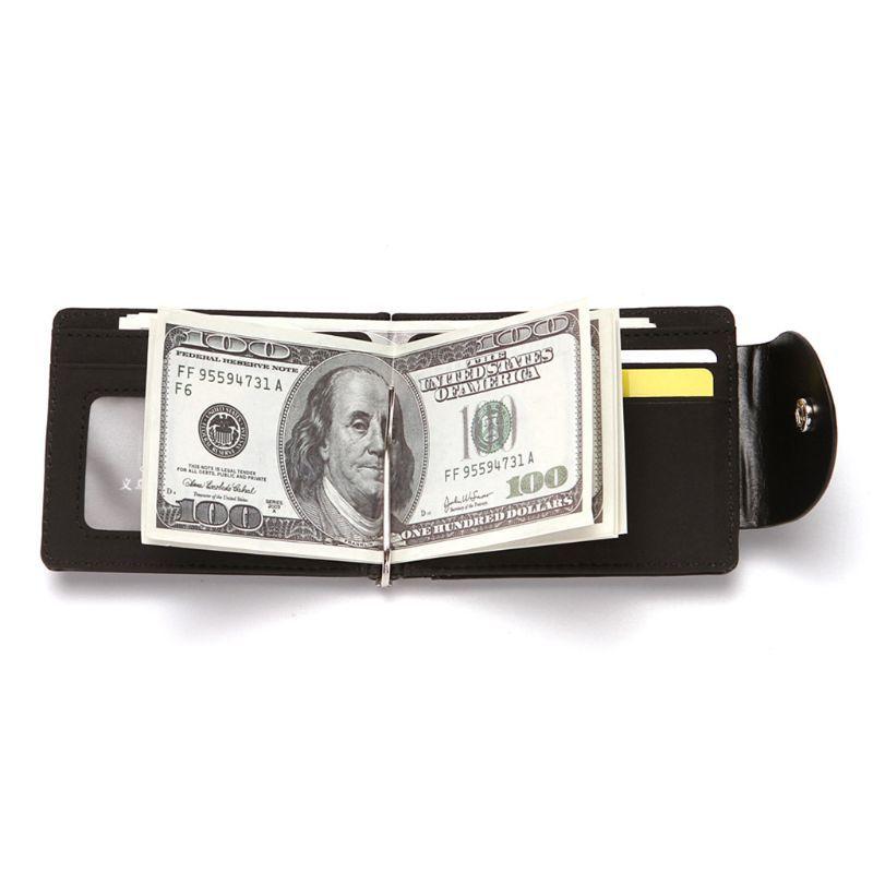新品 マネー クリップ 財布 カード ケース 二つ折り 薄い ブラック 黒 ボタン ID ホルダー PU レザー ビジネス カジュアル 送料無料 _画像2