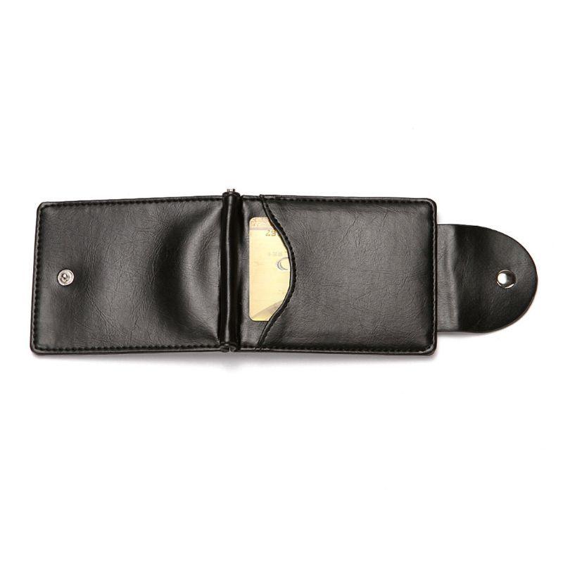新品 マネー クリップ 財布 カード ケース 二つ折り 薄い ブラック 黒 ボタン ID ホルダー PU レザー ビジネス カジュアル 送料無料 _画像3