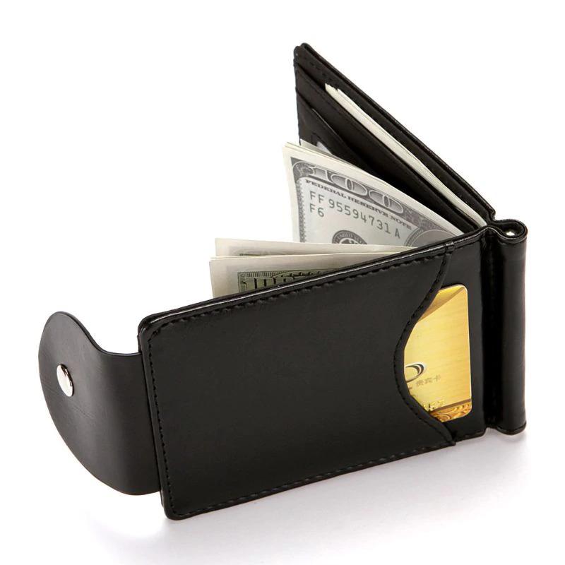 新品 マネー クリップ 財布 カード ケース 二つ折り 薄い ブラック 黒 ボタン ID ホルダー PU レザー ビジネス カジュアル 送料無料 _画像4