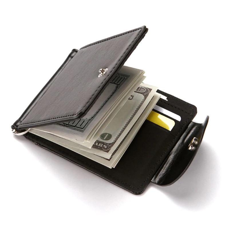 新品 マネー クリップ 財布 カード ケース 二つ折り 薄い ブラック 黒 ボタン ID ホルダー PU レザー ビジネス カジュアル 送料無料 _画像5