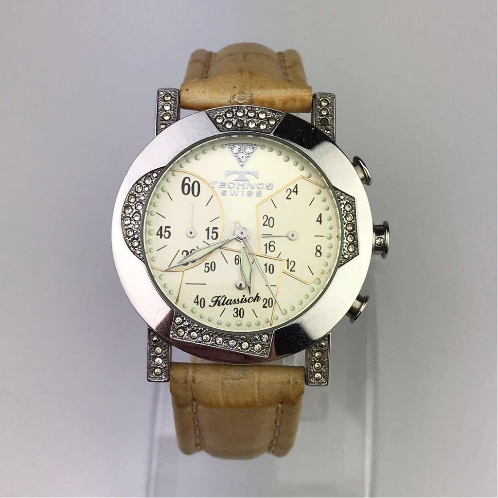 TECHNOS テクノスTKBC825 クロノグラフ クォーツ 腕時計■ ジャンク 動作品 電池交換済_画像2