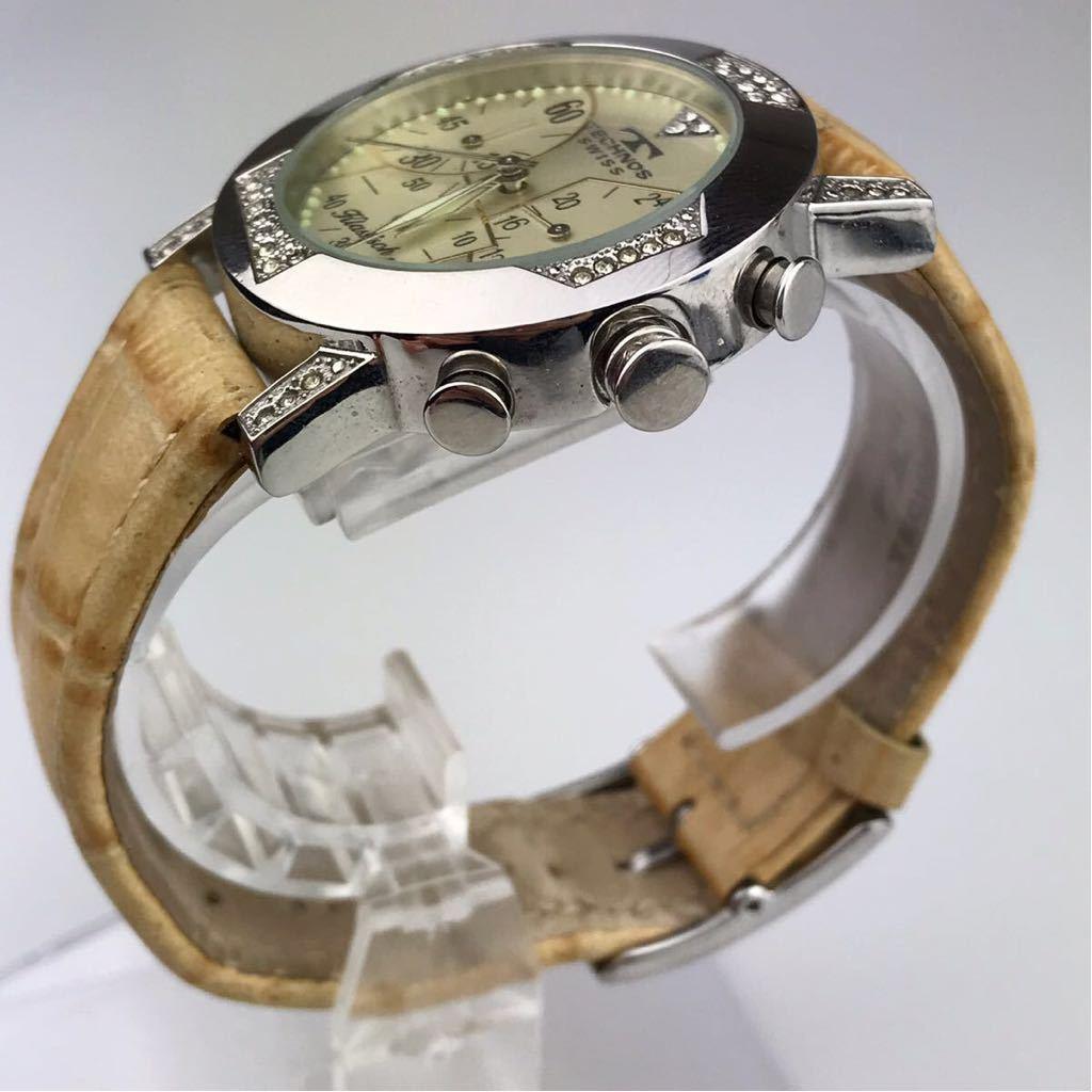 TECHNOS テクノスTKBC825 クロノグラフ クォーツ 腕時計■ ジャンク 動作品 電池交換済_画像3