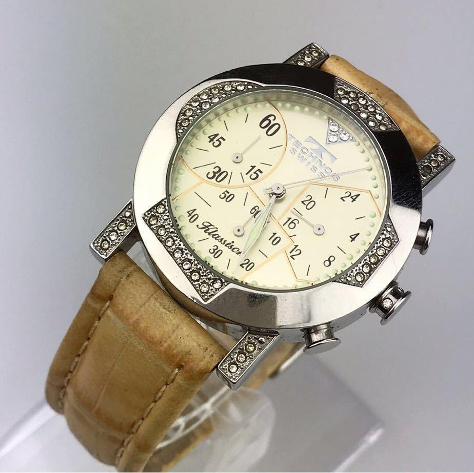 TECHNOS テクノスTKBC825 クロノグラフ クォーツ 腕時計■ ジャンク 動作品 電池交換済