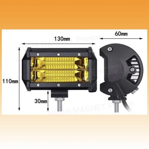 イエロー LEDワークライト 作業灯 72w 2個 投光器 ジムニー ランクル 集魚灯 前照灯 12v-24v 兼用 フォグランプ 防水 バイク B_画像5