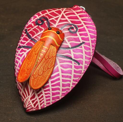 471027レディース 小銭入れ、コインケース 財布 Handmade 手作り 本革 レザー かわいい 可愛い 葉 セミ人気 素敵 通勤出張旅行