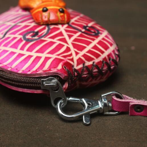471027レディース 小銭入れ、コインケース 財布 Handmade 手作り 本革 レザー かわいい 可愛い 葉 セミ人気 素敵 通勤出張旅行_画像6