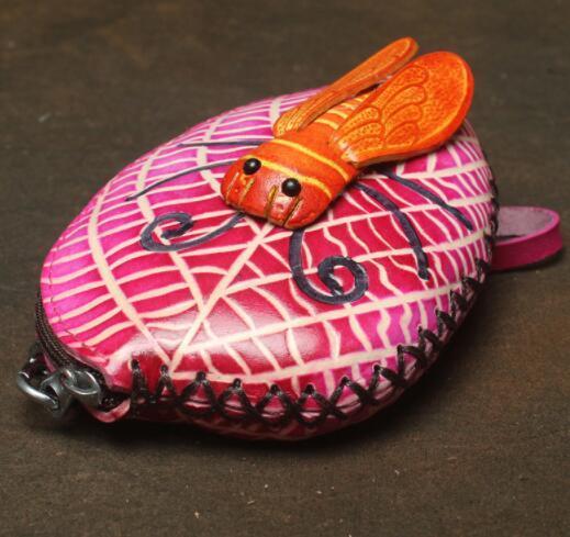 471027レディース 小銭入れ、コインケース 財布 Handmade 手作り 本革 レザー かわいい 可愛い 葉 セミ人気 素敵 通勤出張旅行_画像5