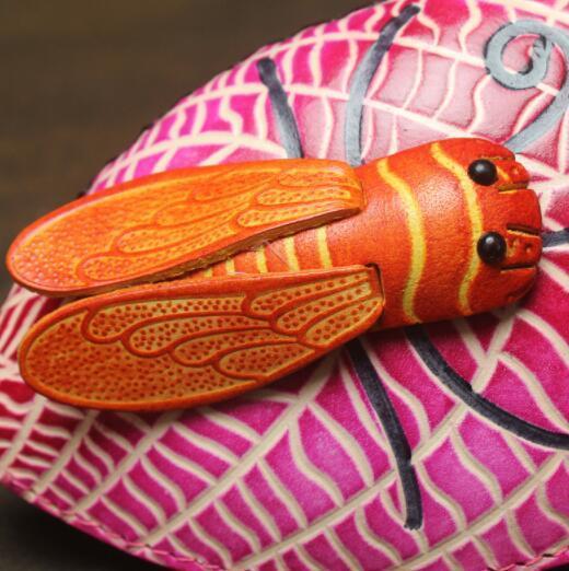 471027レディース 小銭入れ、コインケース 財布 Handmade 手作り 本革 レザー かわいい 可愛い 葉 セミ人気 素敵 通勤出張旅行_画像3