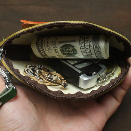 471027レディース 小銭入れ、コインケース 財布 Handmade 手作り 本革 レザー かわいい 可愛い 葉 セミ人気 素敵 通勤出張旅行_画像7