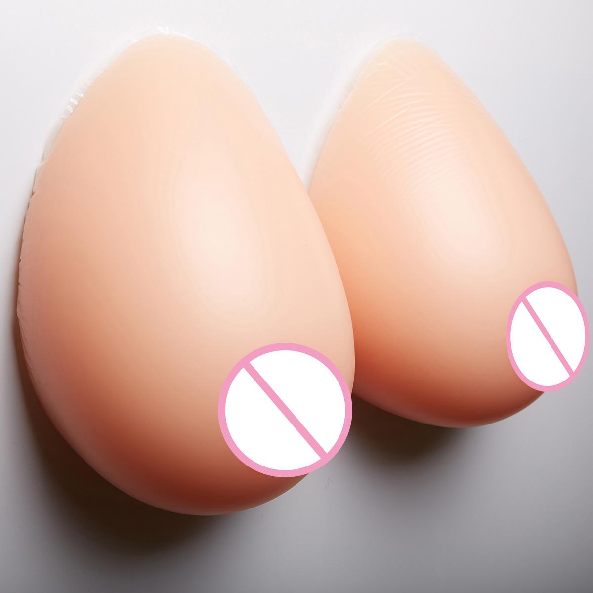 営業所止め可能 秘密発送 人工 乳房 偽胸 豊胸 おっぱい 女装 自然な一体感 粘着 貼付式 シリコンバスト 左右 2個 Eカップ_画像2