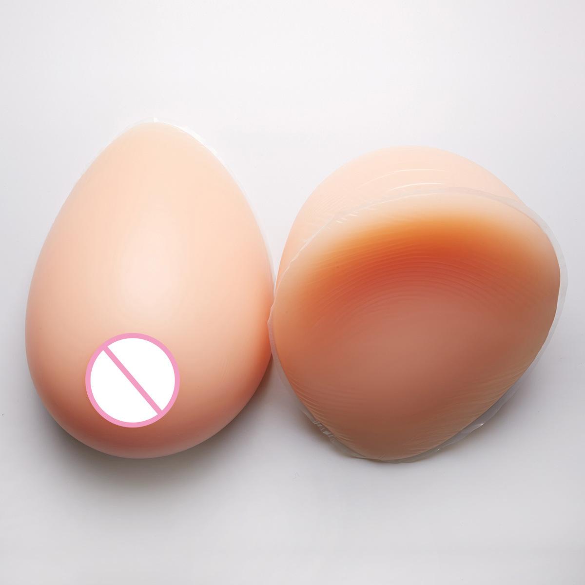 営業所止め可能 秘密発送 人工 乳房 偽胸 豊胸 おっぱい 女装 自然な一体感 粘着 貼付式 シリコンバスト 左右 2個 Eカップ_画像7
