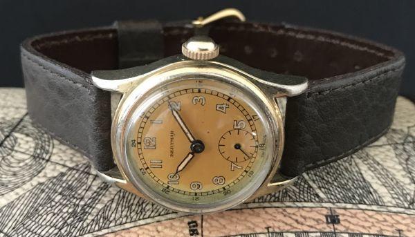 ☆ブルースチール針が美しい☆【BERTMAR☆ミリタリー】スモールセコンド ヴィンテージ アンティーク 手巻き メンズ腕時計_画像7