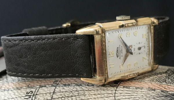 【装飾ケースが美しい】TECHNOS WATCH CO☆レクタンギュラー 10金張り アンティーク 手巻き メンズ腕時計_画像5