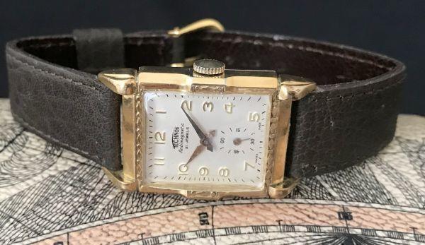 【装飾ケースが美しい】TECHNOS WATCH CO☆レクタンギュラー 10金張り アンティーク 手巻き メンズ腕時計_画像4