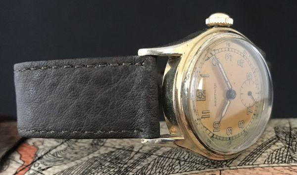☆ブルースチール針が美しい☆【BERTMAR☆ミリタリー】スモールセコンド ヴィンテージ アンティーク 手巻き メンズ腕時計_画像6