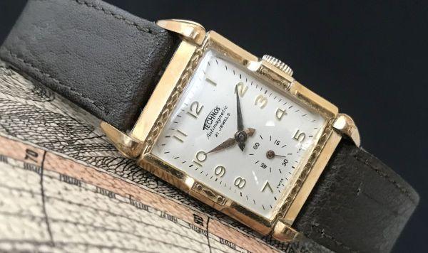 【装飾ケースが美しい】TECHNOS WATCH CO☆レクタンギュラー 10金張り アンティーク 手巻き メンズ腕時計_画像2