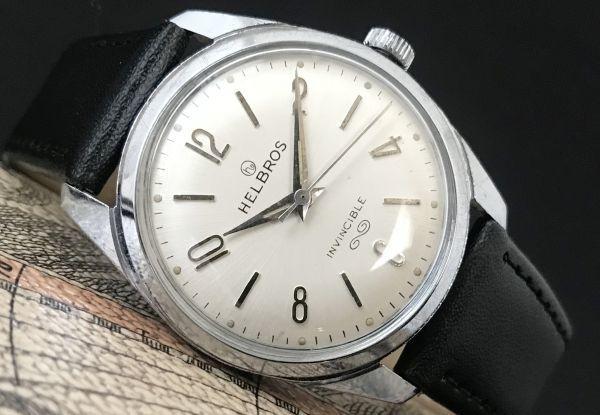 ☆古いスイス製機械式☆HELBROS(ヘルブロス) アンティーク ヴィンテージ 手巻き メンズ腕時計☆オーバーサイズ☆