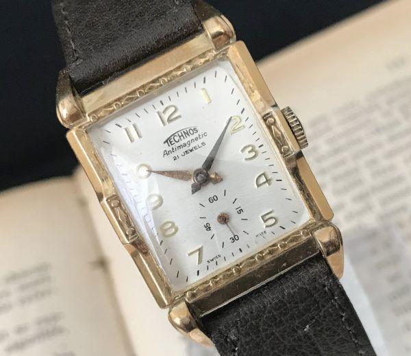【装飾ケースが美しい】TECHNOS WATCH CO☆レクタンギュラー 10金張り アンティーク 手巻き メンズ腕時計