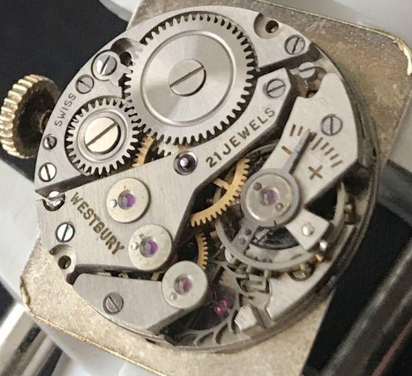 【装飾ケースが美しい】TECHNOS WATCH CO☆レクタンギュラー 10金張り アンティーク 手巻き メンズ腕時計_画像7