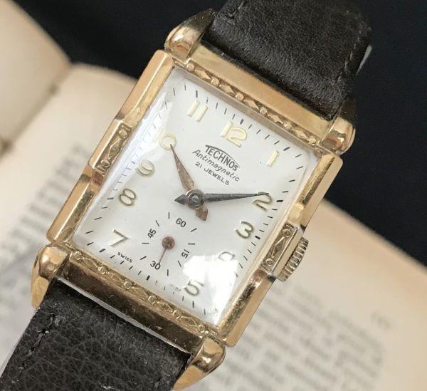 【装飾ケースが美しい】TECHNOS WATCH CO☆レクタンギュラー 10金張り アンティーク 手巻き メンズ腕時計_画像3