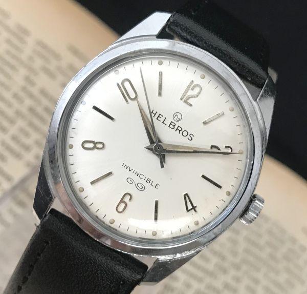 ☆古いスイス製機械式☆HELBROS(ヘルブロス) アンティーク ヴィンテージ 手巻き メンズ腕時計☆オーバーサイズ☆_画像2