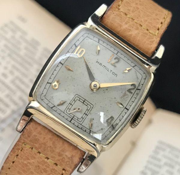 ☆極上品☆【ハミルトン HAMILTON☆レクタンギュラー】1金張り アンティーク ヴィンテージ 手巻き メンズ腕時計