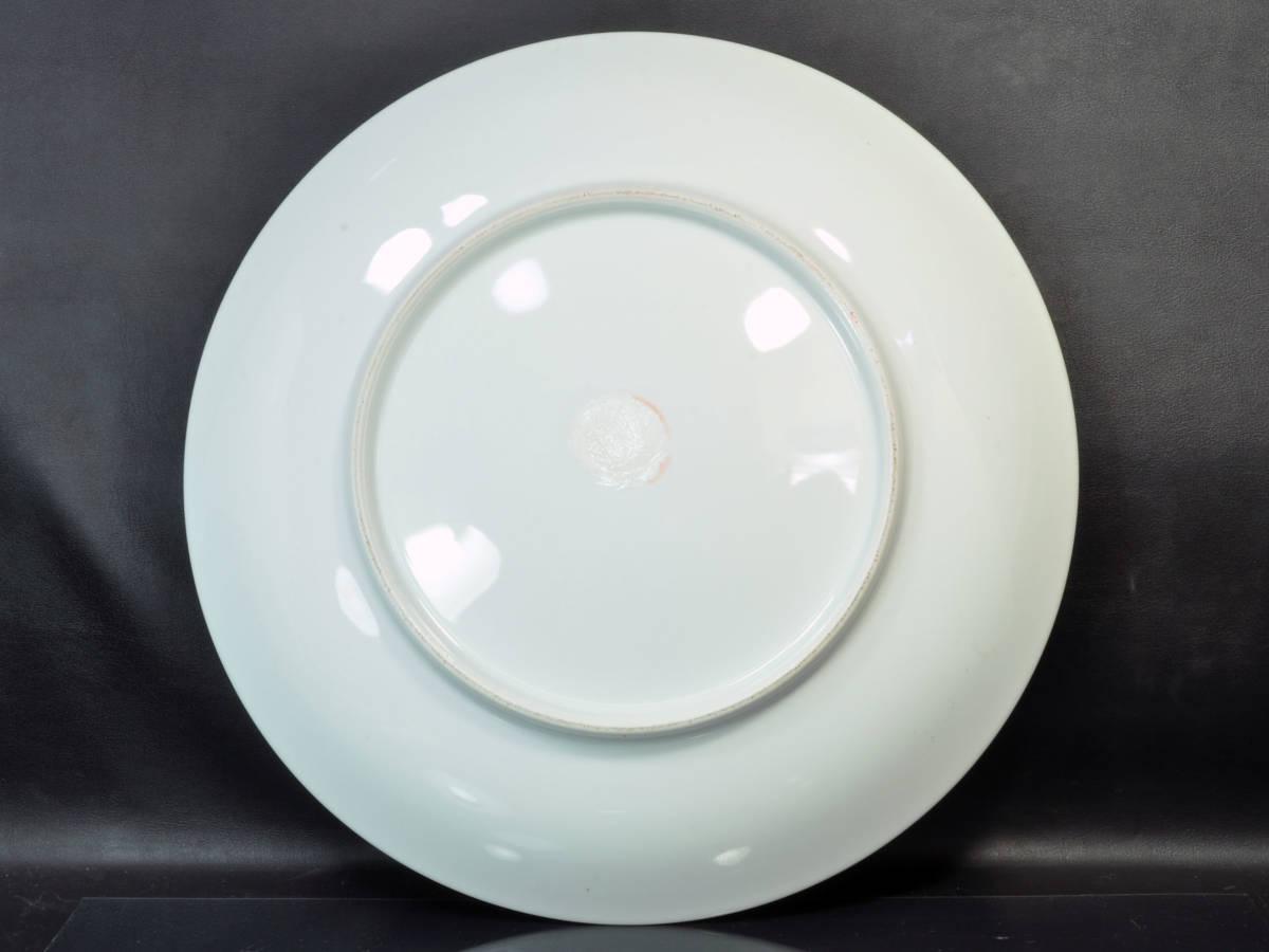 【義】 伊万里焼 有田焼 白磁色絵彩色 花鳥図 一尺四寸(41cm)大皿 皿鉢(さわち)皿 飾り大皿 床の間飾り 箱なし 懐石料理 _画像9