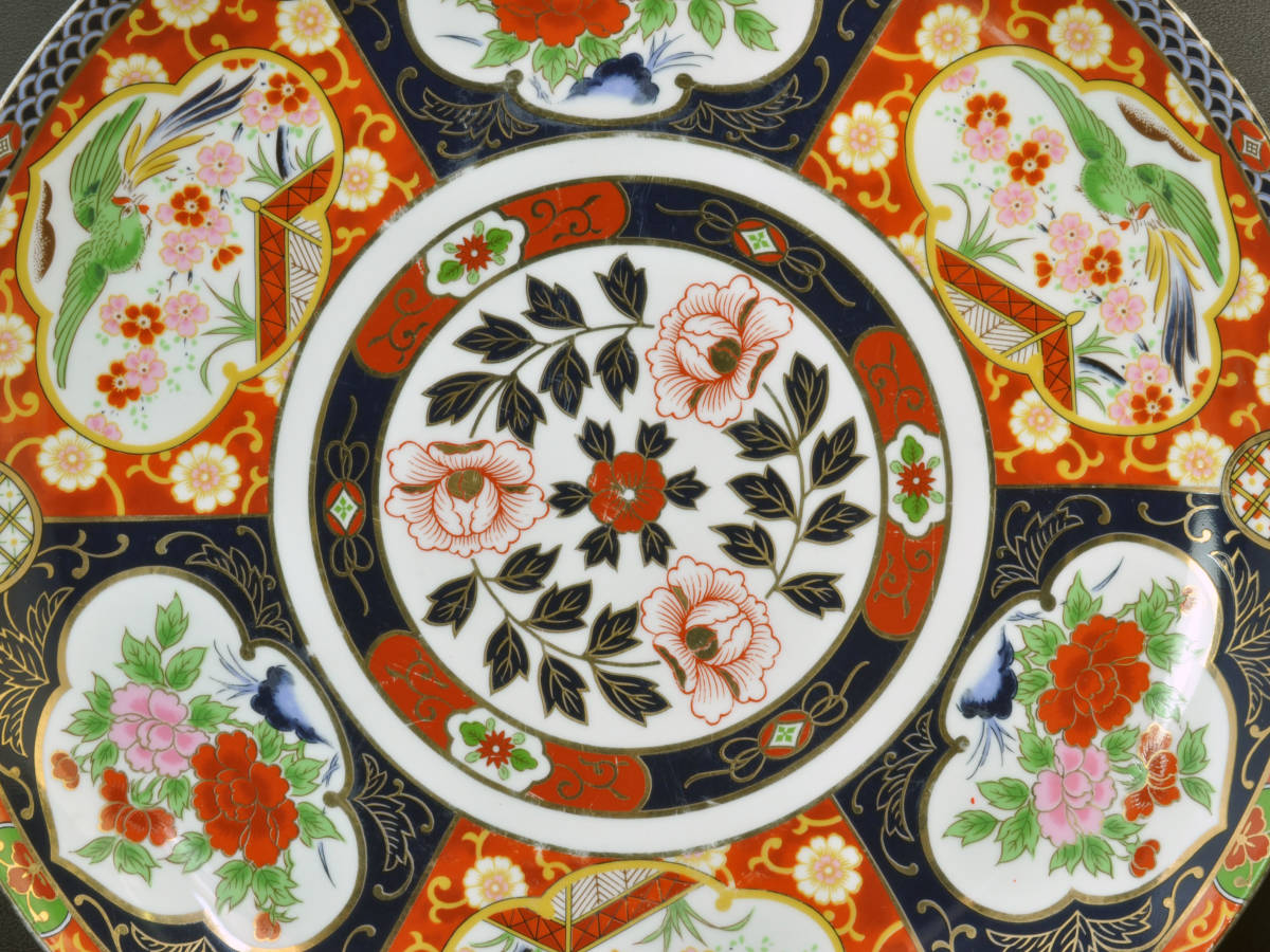 【義】 伊万里焼 有田焼 白磁色絵彩色 花鳥図 一尺四寸(41cm)大皿 皿鉢(さわち)皿 飾り大皿 床の間飾り 箱なし 懐石料理 _画像8