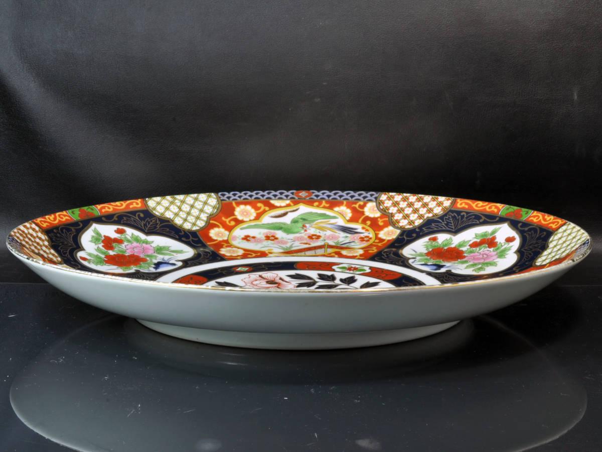 【義】 伊万里焼 有田焼 白磁色絵彩色 花鳥図 一尺四寸(41cm)大皿 皿鉢(さわち)皿 飾り大皿 床の間飾り 箱なし 懐石料理 _画像10