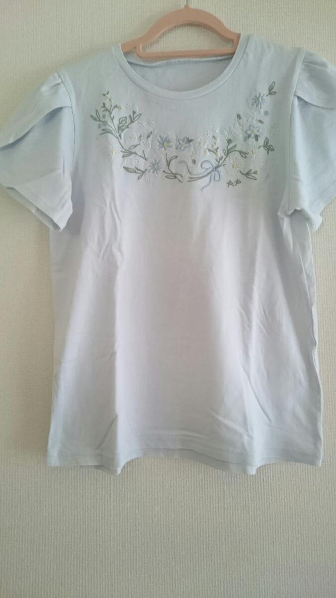 ☆美品 ポンポネット pom ponette 淡いブルー×花柄刺繍が涼しげなカットソー 160cm 学校着にも! ナルミヤインターナショナル